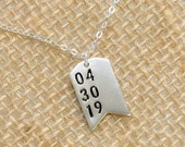 Personalized Tag Necklace - Special Date Layered Necklace - Personalized Necklaces with Numbers - Birth Necklace - Pennant Necklace