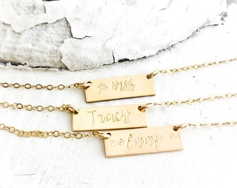 Personalized  Bar Necklace, Custom Name Necklace, Silver, Gold, Rose Gold Bar, Initial Necklace, Layering Necklace, SKYYEdesign