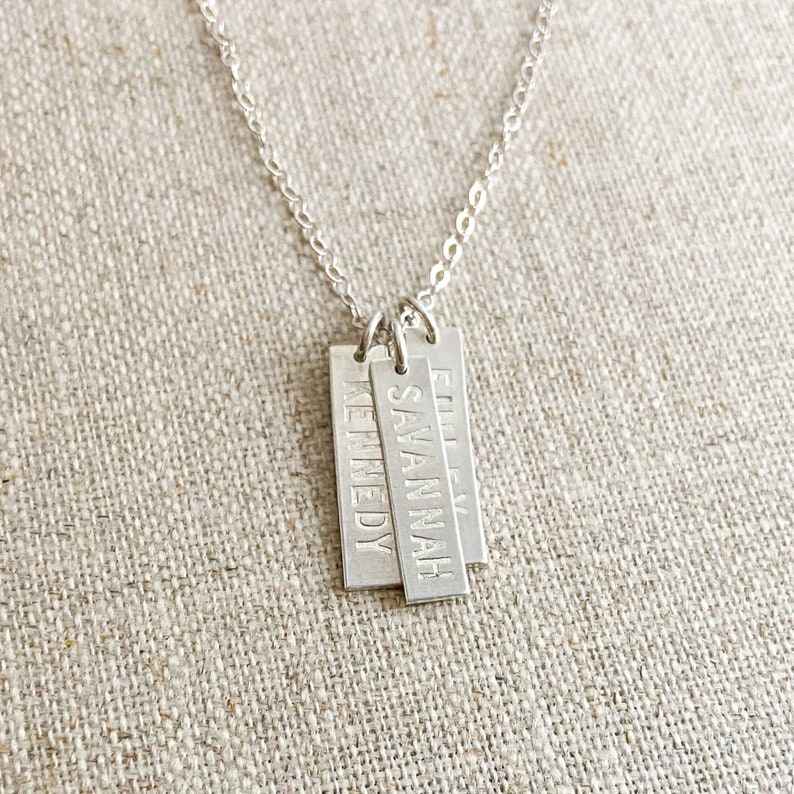 AZURE Layered Bar Necklace \u2022 16 x 4mm \u2022 Name Necklace \u2022 Initial Pendant