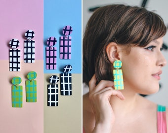Simple Plaid Dangles ~*~*~ 4 COLOR COMBINATION OPTIONS ~*~*~ Statement Earrings