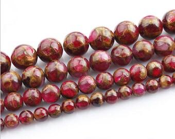 Cloisonne Red Color Gold Clinquant Beads 4mm6mm 8mm10mm12mm 15.5 Full Strand Wholesale Gemstones,sku#U952