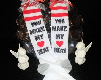 Girls Valentine's Day Knee Hi Stockings,Dance warmup,Ballet socks,Dance Socks,gymnastics,Valentine's Day stockings, girls socks,silly socks
