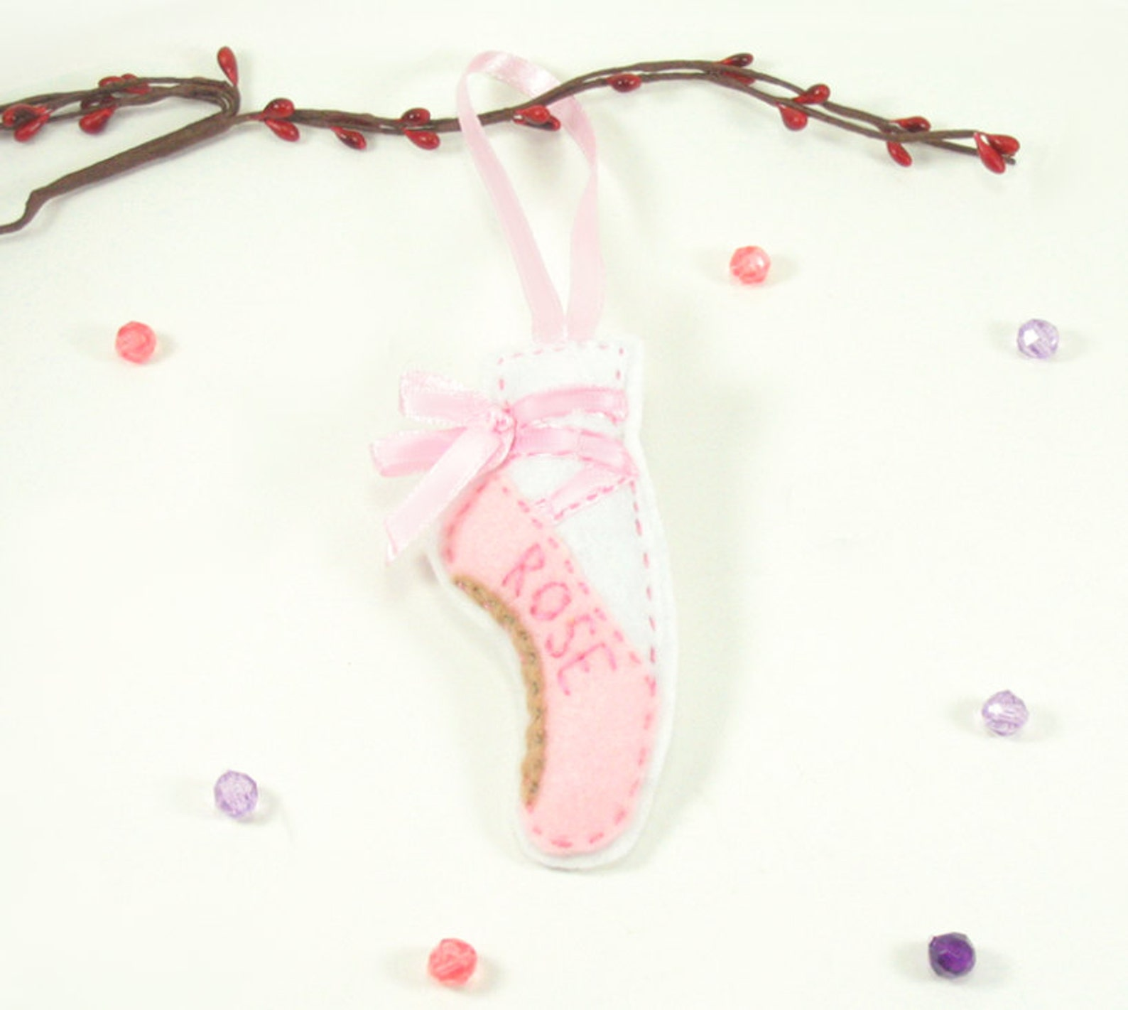 ballet slipper ornament, personalized ballet pointe shoes, girls dance, ballet shoes, dance teacher gift, handmade custom orname