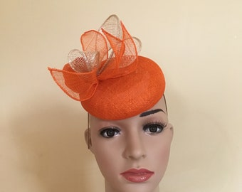 Orange hat.Orange pillbox hat.Orange wedding hat.Orange wedding hats.Orange  Ascot hat.Orange races hat.Orange fascinator.Orange fascinators c2f8b025b0b