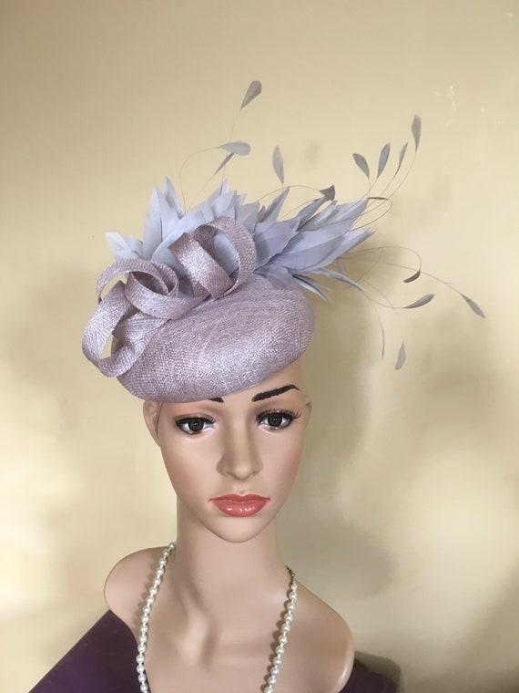 Silver grey pillbox. Silver grey wedding hat.Silver grey Ascot  7907c4af177