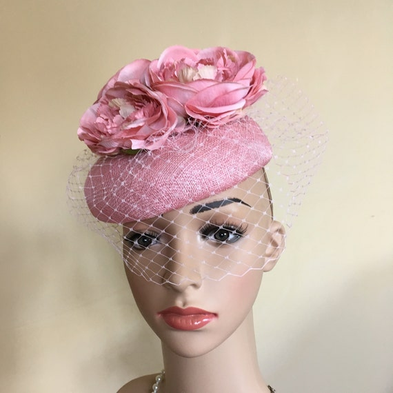 Pink pillbox hat. Pink wedding hat.Pink hat.PinkAscot hat.Pink  429df6d222b