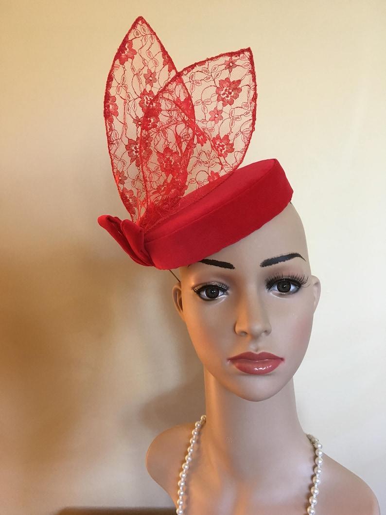 Red velvet pillbox hat Red velvet hatRed velvet hats Red  79fac696d93