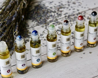 Seven Chakra Essential Oil Blends with Real Gemstone Rollerball Infused With Organic Herbs, Yoga, Meditation, Aromatherapy, Gifts for Her