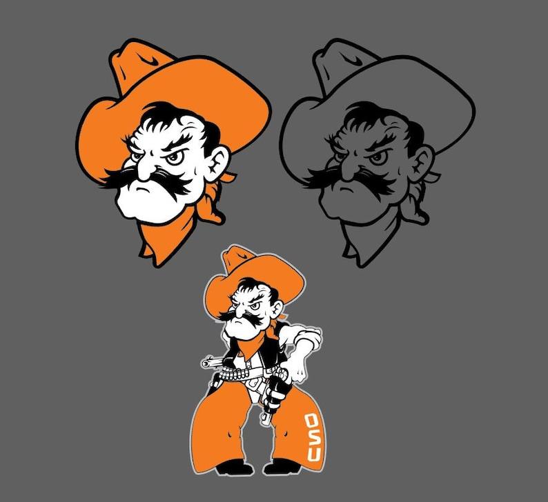 Pistol Pete oklahoma state OSU mascot vector file, svg, ai, eps