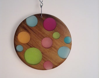 Wood and resin window hanging