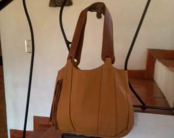 Mustard Yellow Leather Hobo Bag