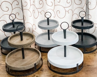 Tiered Tray, Tiered Tray, Wood Tiered Tray, Kitchen Decor, SHIPS IMMEDIATELY, Rustic Tier Tray, Wood Tray, Farmhouse Tray, Kitchen Decor