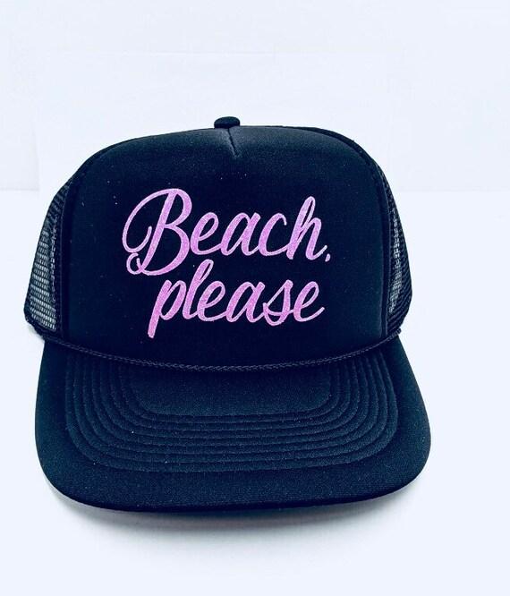 42aebc395 Beach Please Hat, Beach Hat, Beach Trucker Hat, Summer Trucker Hat, Custom  Trucker Hat, Custom Hats, Trucker Hats, personalized hat