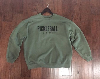 Pickleball Athlete Classic Pullover Crewneck Sweatshirt in Military Green