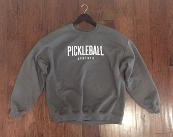Pickleball Athlete classic pullover crewneck sweatshirt in charcoal gray