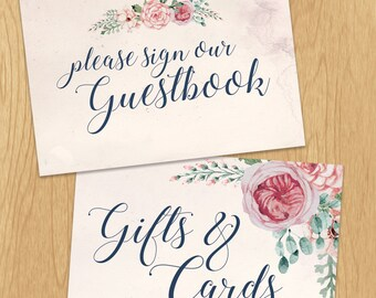 Romantic Floral Wedding Guest Book & Gift Table Signs