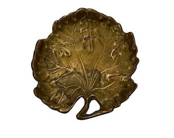 Leaf Motif Brass Ring Dish Vintage Brass Trinket Dish Home Decor Brass Coin Dish