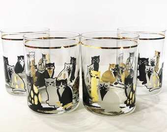 84689c000221 4 Culver Cat Lowball Glass Set    1970 s-1980 s    Set of 4    22KT Gold