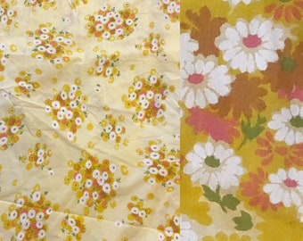 1970's Pacific Queen Yellow Floral Flat Sheet  // Percale Floral Flat Sheet