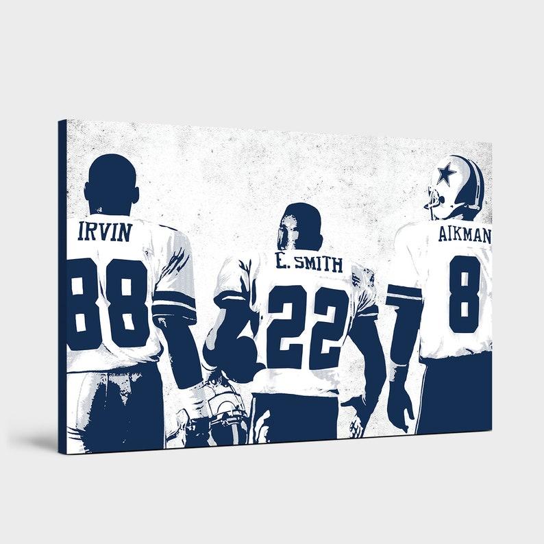 14dc31ff20f Troy Aikman Emmitt Smith & Michael Irvin Dallas Cowboys   Etsy