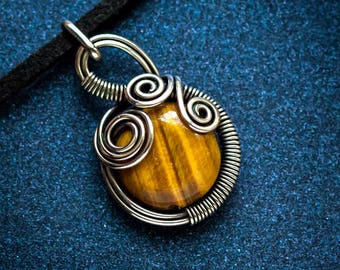 Tiger eye silver pendant Wire wrapped necklace gift for her simple necklace wire wrap jewelry OOAK