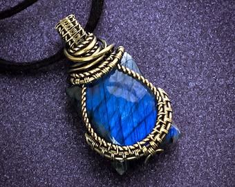 Gold pendant Mens pendant Blue Labradorite pendant Mens necklace Brass necklace Wire wrapped pendant Gemstone necklace gift for him