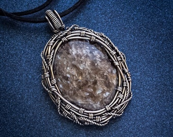 Silver pendant Mens necklace Wire wrapped pendant phlogopite necklace Gemstone jewerly Wire wrap gift  for him OOAK