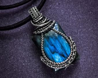 Silver pendant Mens necklace Blue Labradorite pendant Silver necklace Wire wrapped pendant Gemstone necklace gift for him