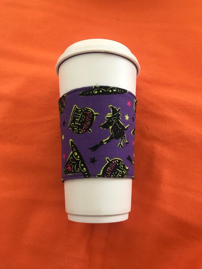 Purple witches halloween themed coffee cozy image 0