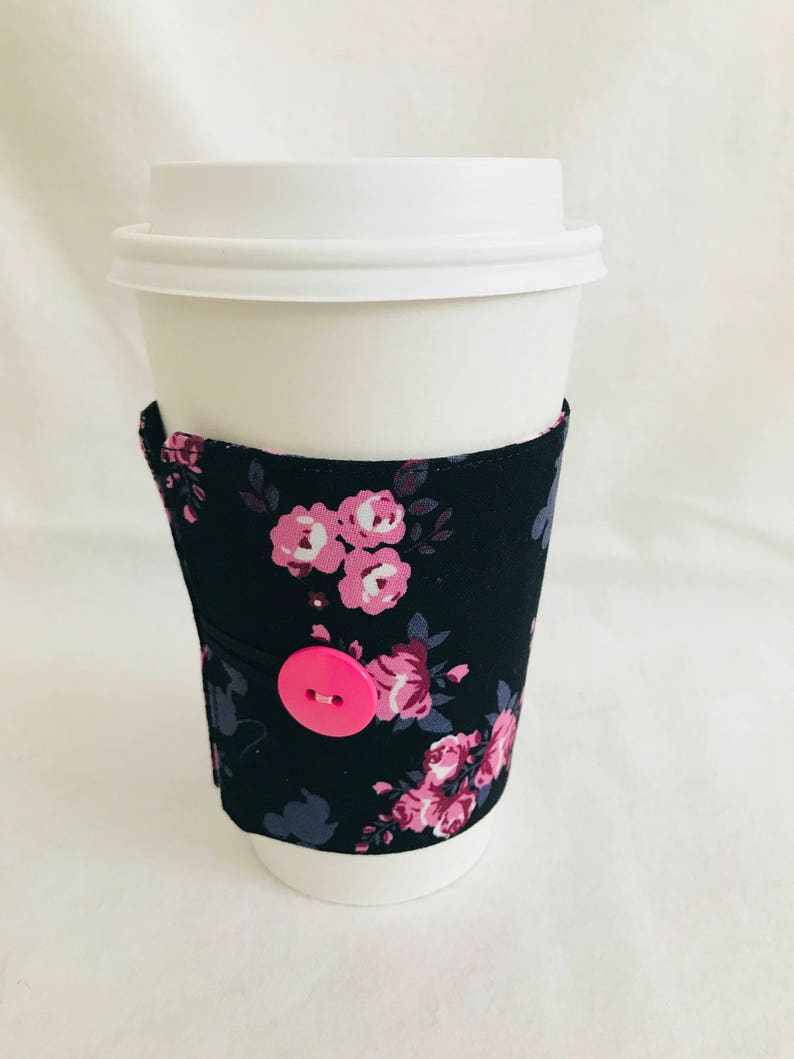Floral hidden Mickey Mouse Disney coffee cozie image 0