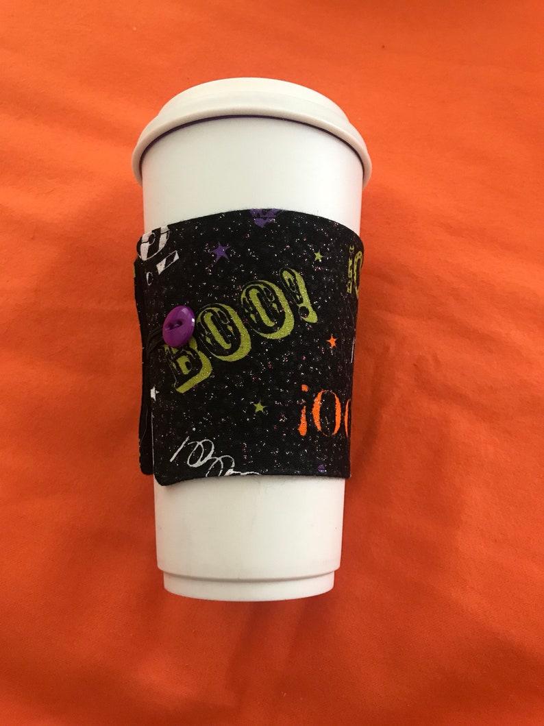 Glittery BOO halloween themed coffee cozy image 0