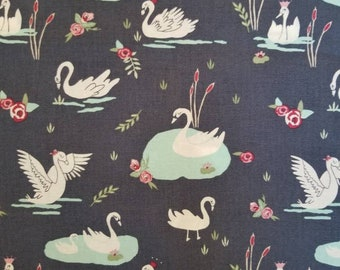 Cute Fabric Quilting Fabric by the Yard White Swan Printed Fabric Swan Cotton Fabric Swan on water Fabric