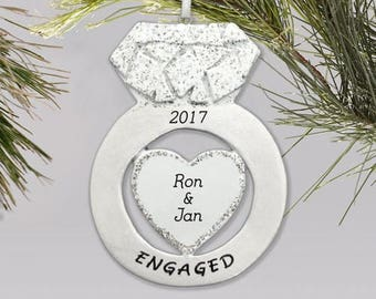 Personalized Engagement Ring Christmas Ornament - Personalized with Names & Year