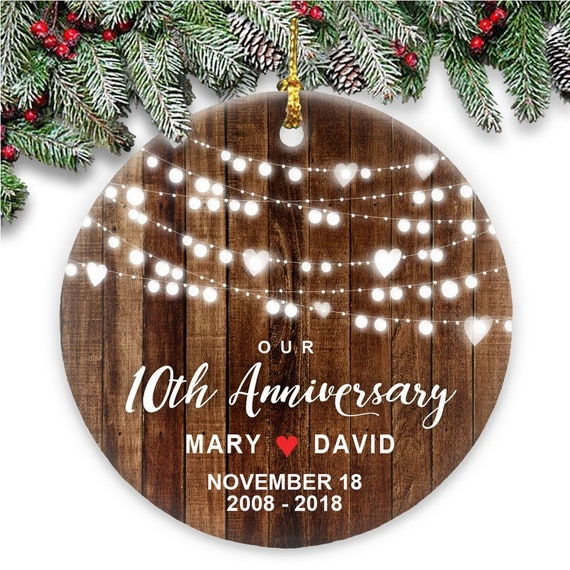 Our 10th Anniversary Christmas Ornament Rustic Couples | Etsy