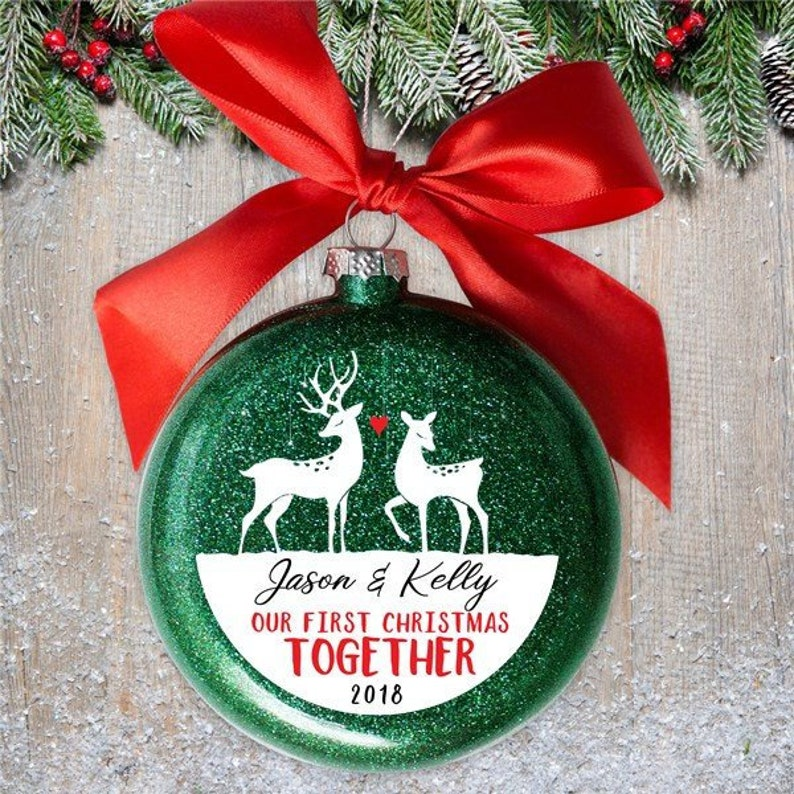 Personalized Christmas  Round Green Glitter Glass Ornament Deer Our First Christmas Together Personalized with Names and Year