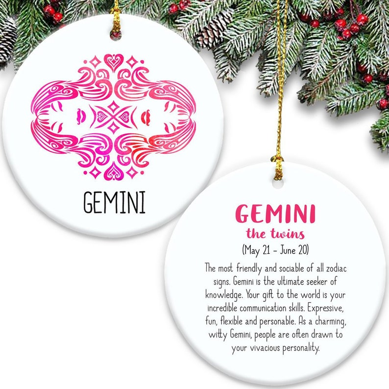 Gemini Zodiac Sign Double Sided Ornament - Ceramic The Twins Symbol &  Description Astrology Horoscope Air Sign Pink Gift