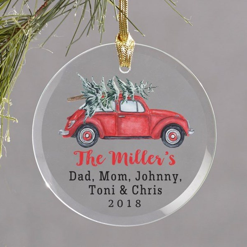 Personalized with Names of Family /& Year Round Glass Ornament Personalized Family Name Ornament Vintage Red Car Truck