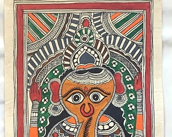 Vintage hand-painted Madhubani paintings from Bihar, India on paper. Ethnic artwork for home decor. Housewarming gift.