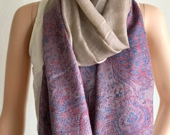 Pure Cashmere Wrap. Handmade Pashmina. Indian Scarf Shawl Himalayan wool. Easy care Bridal wedding gift. Ethnic exotic dressy or casual wear