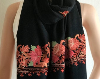 Woolen Embroidered Pashmina Indian Scarf Wrap Shawl. Himalayan Kashmiri pure wool. Easy Care Gift for her. Ethnic exotic dressy wedding wear
