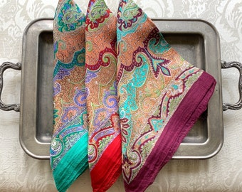 Indian Pattern Pure Silk Scarf. Square. Ethnic exotic hippie bandana. gift for her. India wedding favor Bridesmaid gift set. DIY Face Mask