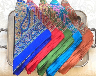 Indian Pattern Pure Silk Scarf. Long Rectangle. Ethnic exotic bandana. Gift for her. India wedding favor. Bridesmaid gift set. DIY Face Mask
