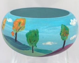 Wood bracelet, Hand painted bracelet, Landscape bracelet