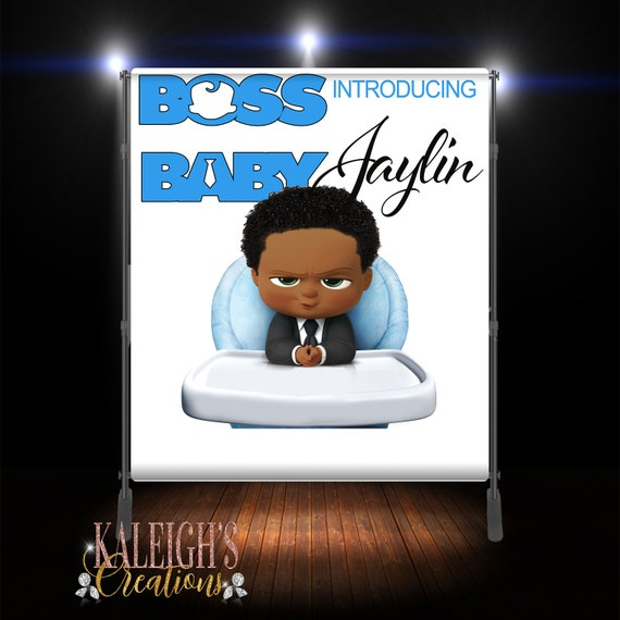 African American Boss Baby Coming Soon Banner Backdrop Royal Blue And Black Boss Baby Baby Shower Boss Baby Theme