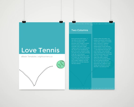 Ebook template tennis sporty customizable ebook template etsy image 0 maxwellsz