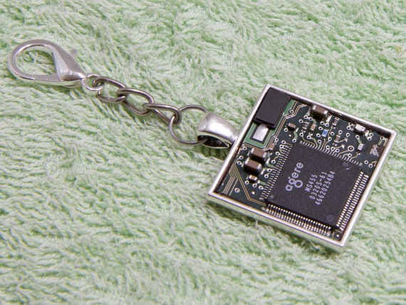 Green circuit board keychain gift for computer geek