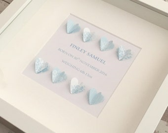 Personalised 3D Heart Box Frame - New Baby Boy Gift / Keepsake