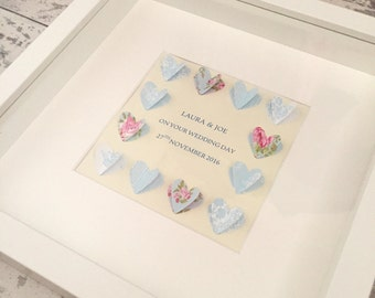 Personalised 3D Heart Box Frame Wedding Gift