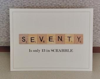 Seventieth Birthday Card 70 Actual Scrabble Tiles 70th Gift For Him Milestone Plus Envelope