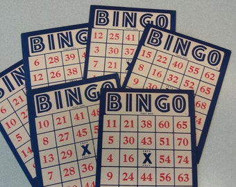 """Set of 4 Large Vintage BINGO Cards, Red, White, Blue, 5.25"""" x 7"""", Cardboard Used Bingo Cards, Card Making, Bookbinding, Mixed Media, Collage"""